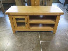 An ex display oak one drawer TV unit