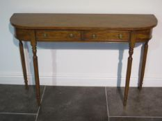 A satin wood D end two drawer side / hall table on turned legs, made by a local craftsman to a