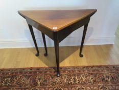 A 19th century mahogany drop leaf corner side table with a small drawer, 70cm tall x 67cm x 67cm