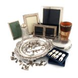 A mixed lot of silver items, various dates and makers, comprising: a silver-mounted Doulton