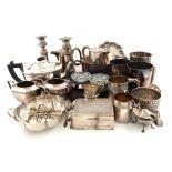 A mixed lot, comprising silver items: an Edwardian lobed circular bowl, London 1905, two mugs, a
