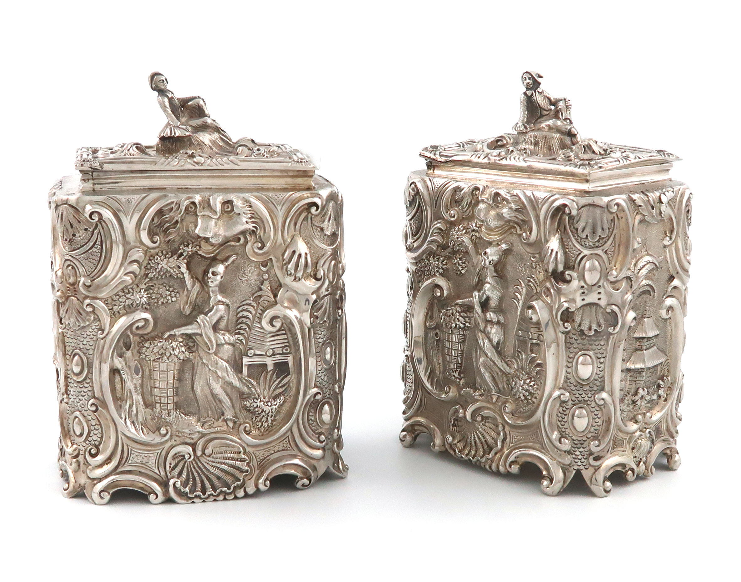 After Paul De Lamerie, a pair of William IV silver Chinoiserie tea caddies, by Michael Starkey,