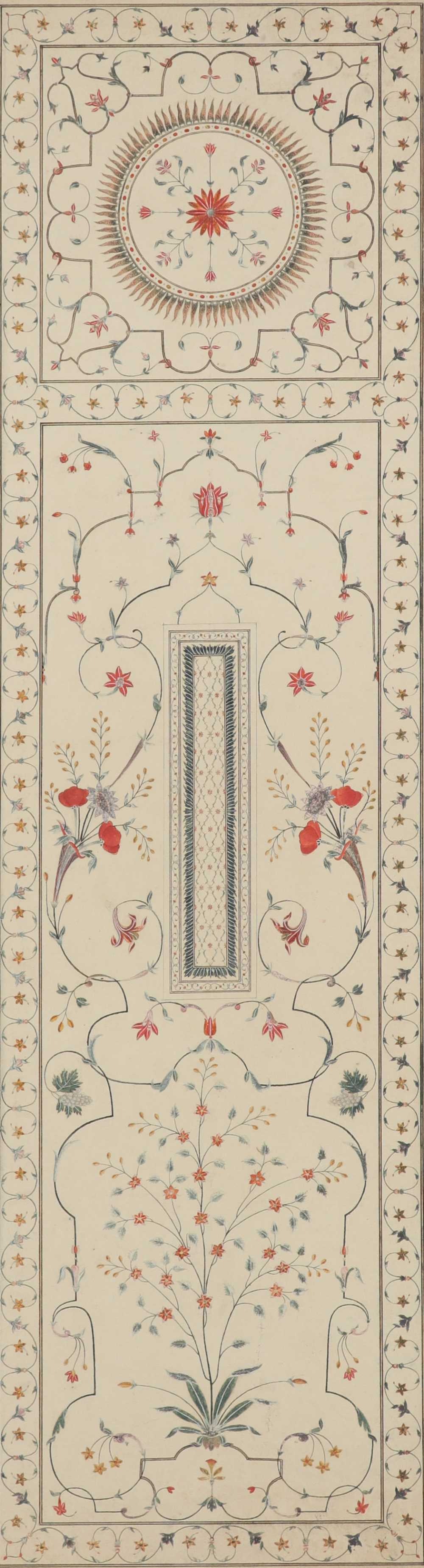 Company School c.1820 Two copies of the pietra dura work from the cenotaph, Taj Mahal, Agra A