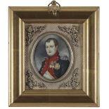 λEnglish School 19th Century Portrait miniature of Napoleon Bonaparte in uniform; Portrait miniature