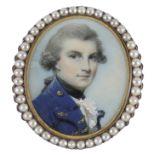 λGeorge Engleheart (1750-1829) Portrait of Admiral Sir John Orde, 1st Baronet (1751-1824) Oval, in a