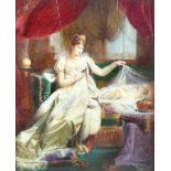 After Joseph Franque Miniature The Empress Marie Louise watching over the sleeping King of Rome