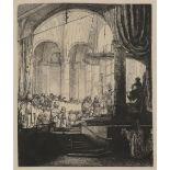 After Rembrandt Harmensz. van Rijn Beggar man and beggar woman conversing; The artist's mother