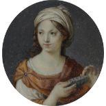 λEnglish School 18th Century Miniature of a sibyl holding a bowl Circular, in a tooled red leather