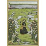 Indian School A Hawking scene Watercolour 31 x 21cm; 12¼ x 8¼in With two further Persian