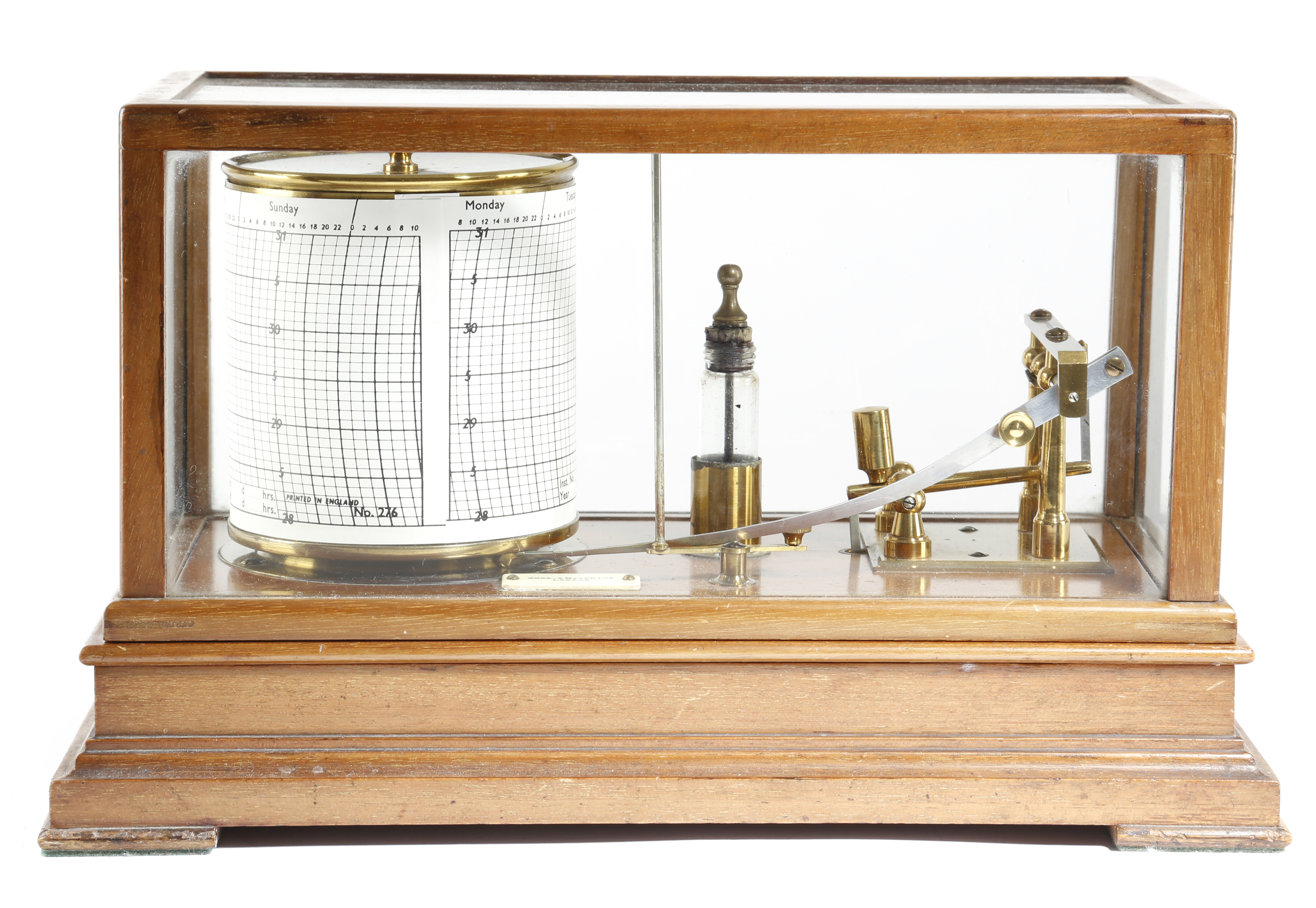 Lot 464 - A MAHOGANY BAROGRAPH BY SHORT AND MASON EARLY 20TH CENTURY with a glazed lift-off cover, with an