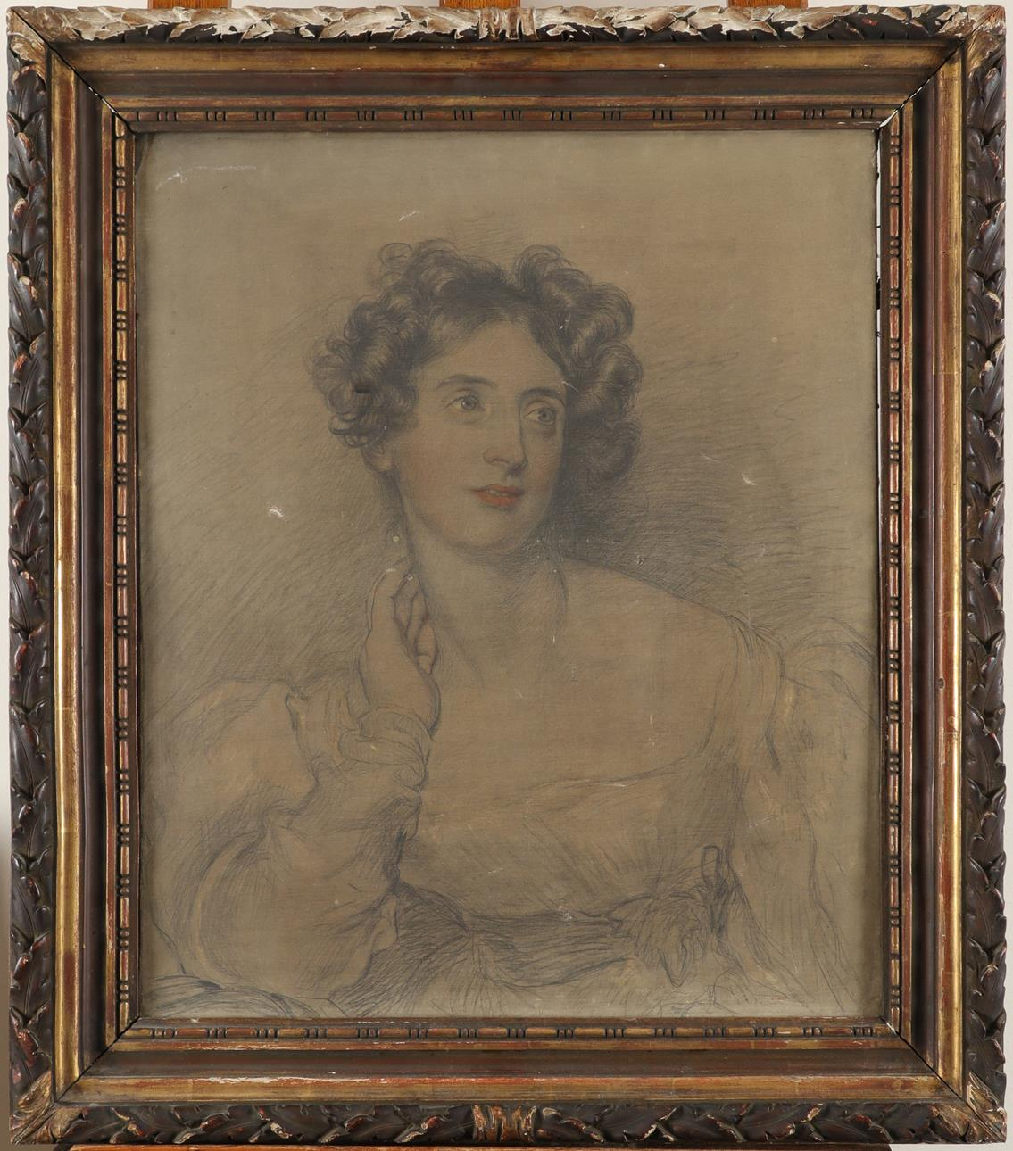 Lot 464 - Circle of Sir Thomas Lawrence Portrait of a young lady, half-length Pencil and wash on canvas 61.2 x
