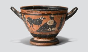 An Attic black figure skyphos circa 6th - 5th century BC each side decorated with a seated male