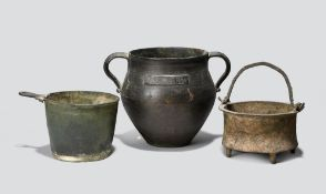 Three Roman bronze vessels circa 1st - 3rd century AD including a situla with one remaining