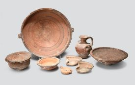 Seven Cypriot pottery vessels circa 7th - 3rd century BC including a two handled bowl with