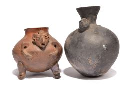 A Colima anthropomorphic vessel Mexico, circa 200BC - 300 AD pottery with incised geometric