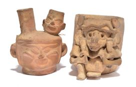 A Maya zoomorphic vessel Mexico pottery, the cylinder body with an applied seated animal deity,