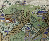 A CHINESE CLOISONNE RECTANGULAR 'LANDSCAPE' PANEL 18TH/EARLY 19TH CENTURY Decorated with dwellings