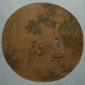 SHEN QUAN (LATE QING DYNASTY) WANG XIZHI EXCHANGING CALLIGRAPHY FOR GEESE A Chinese fan painting,