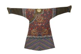 A CHINESE BROWN-GROUND KESI 'NINE DRAGON' ROBE QING DYNASTY Finely worked in gold threads with