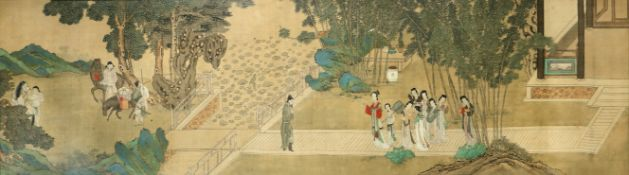 ANONYMOUS (QING DYNASTY) SERICULTURE AND IMPERIAL CONCUBINES IN A GARDEN Two Chinese paintings,