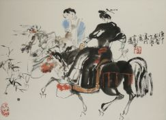 SHI DAWEI (1950-) FIGURES ON HORSEBACK A Chinese painting, ink and colour on paper, inscribed and
