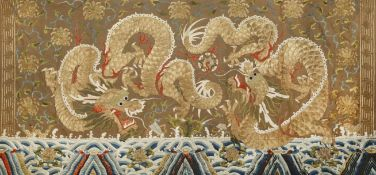 A LARGE CHINESE EMBROIDERED SILK 'DRAGON' PANEL QING DYNASTY Brightly decorated in gold and coloured