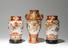 THREE JAPANESE KUTANI VASES MEIJI OR TAISHO PERIOD, 19TH OR 20TH CENTURY Two a pair, with