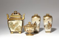 A PAIR OF JAPANESE SATSUMA VASES AND TWO INCENSE BURNERS, KORO MEIJI PERIOD, 19TH CENTURY The