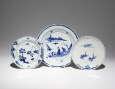 THREE CHINESE DISHES FOR THE JAPANESE MARKET, KO-SOMETSUKE TIANQI 1621-27 The largest plate