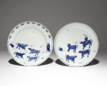 TWO CHINESE DISHES FOR THE JAPANESE MARKET, KO-SOMETSUKE TIANQI/CHONGZHEN PERIOD, 17TH CENTURY