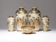 FIVE JAPANESE SATSUMA PIECES MEIJI PERIOD, 19TH CENTURY Comprising: two pairs of vases and a bowl,
