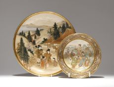 A LARGE JAPANESE SATSUMA DISH AND A BOWL MEIJI PERIOD, 19TH CENTURY The plate decorated with
