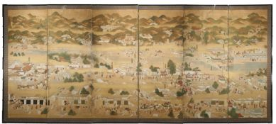 A JAPANESE SIX-FOLD PAPER SCREEN, BYOBU EDO OR MEIJI PERIOD, 19TH CENTURY Depicting an extensive