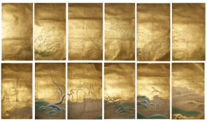 A SET OF TWELVE JAPANESE KANO SCHOOL PAINTINGS EDO PERIOD, 18TH CENTURY Originally from a paper