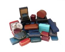 A collection of twenty-nine jewellery boxes, including boxes by Cartier, Van Cleef & Arpels,