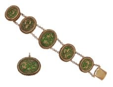 An Indian gold Pertabghar bracelet and brooch, the oval links with green enamel decoration depicting