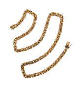 A fancy-link gold necklace, 58cm long, 120g