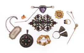 Various items of jewellery, including a paste-set gilt metal buckle, maker's mark KT, an amethyst