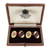 A pair of Regimental 18ct gold and enamel cufflinks, for the Coldstream Guards, maker JWB and