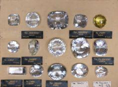 A set of historical diamond replicas, consisting of fifteen faceted paste diamond replicas,