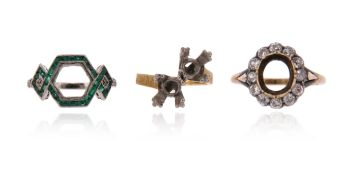 Three ring mounts, including a cluster setting with an oval surround of old circular-cut diamonds in