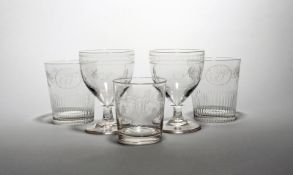 A pair of glass rummers and a pair of tumblers 19th century, the rummers with rounded bowls engraved