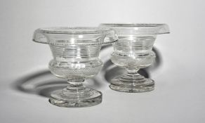 A large pair of Irish glass vases or centrepieces 19th century, of campana shape, cut with a hobnail