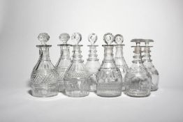 Four pairs of good cut glass decanters and stoppers c.1800 and later, one pair of Penrose
