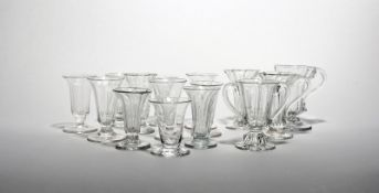 Fifteen jelly or dwarf ale glasses 18th/19th century, with slender bell or drawn trumpet bowls, most
