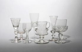 A group of eight various glasses 19th/20th century, including a baluster goblet engraved with