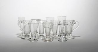 Eleven dwarf ale or jelly glasses 18th/early 19th century, one with wrythen moulding and a