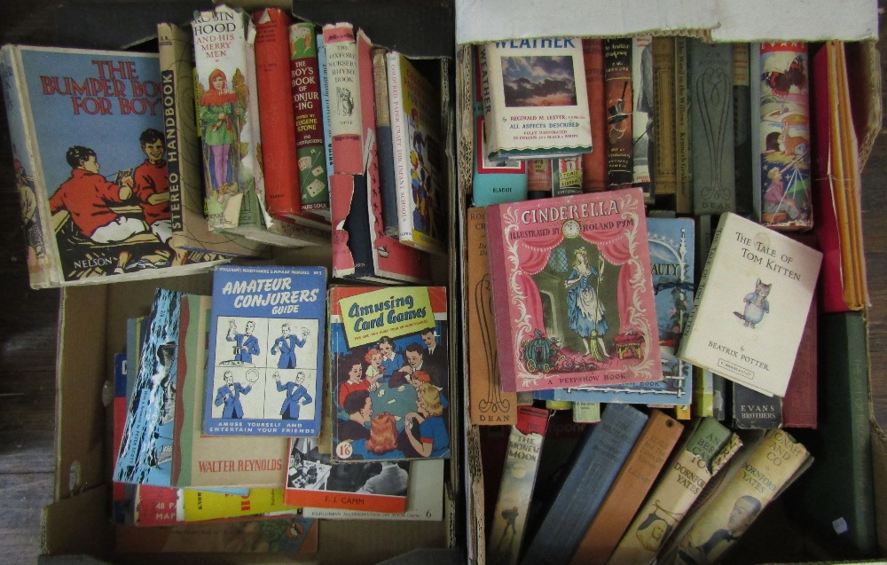 Lot 818 - Two boxes of miscellaneous books, subjects include vintage childrens books, adventure books, etc,