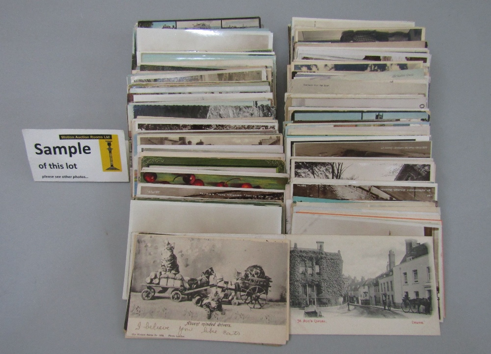 Lot 772 - A box containing approx 380 mixed colour and black and white postcards, subjects include