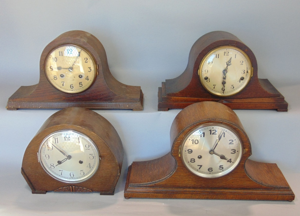Lot 407 - Westminster chime type three train mantle clock together with three others (4)